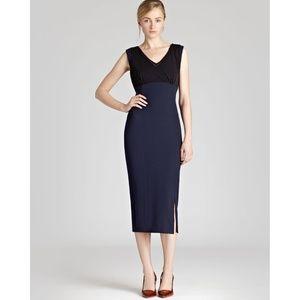 Reiss Sandra Layered Top Dress Navy and Black NWT